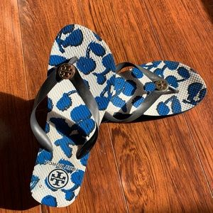 Tory Burch Blue and White Wedge Flip Flops